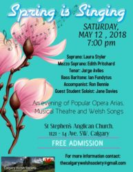 Calgary Welsh Society Concert May 2018