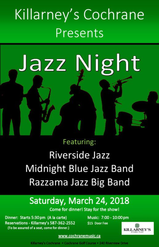 Killarney Jazz Night featuring Riverside Jazz Saturday, March 24, 2018